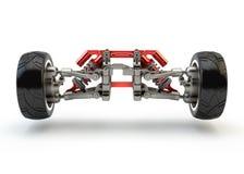 Frontowy axle z zawieszenia i sporta benzynowymi absorberami Zdjęcia Stock
