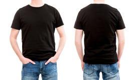 Frontowy i tylny widoku tshirt szablon Obrazy Stock
