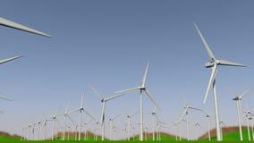 Frontowy ruch kamera przez grupy turbiny tworzy farmę wiatrową na od lewej do prawej zielenieje pole w ciągu dnia ilustracja wektor