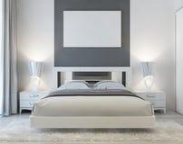 Frontowy widok art deco sypialnia Fotografia Stock