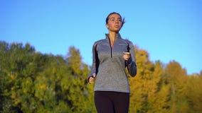 Frontowy widok brunetki kobiety bieg przez parka, robić cardio w ranku zbiory wideo