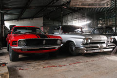 Frontowy widok, DeSoto 59 i Ford mustang, Fotografia Stock