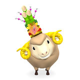Frontowy widok Kadomatsu Na uśmiechu Sheep głowie Fotografia Stock