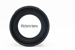 Frontowy widok kamera obiektyw z biel przestrzenią na szklanym obiektywie Fotografia Stock