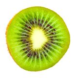 Frontowy widok plasterek kiwi owoc odizolowywać na bielu fotografia royalty free