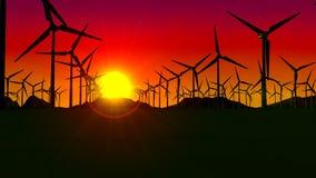 Frontowy widok set turbiny tworzy farmę wiatrową przy zmierzchem z słońcem w tle i czerwonym niebie ilustracji
