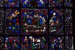 Frontowy widok witraży okno Chartres, Francja - obrazy royalty free
