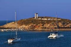 frontowych naxos świątynny jacht Obraz Stock
