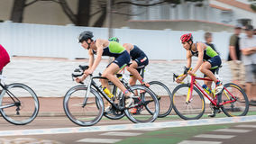 Frontrunners for a road bike race Royalty Free Stock Images