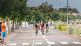 Frontrunners for a road bike race Royalty Free Stock Photography