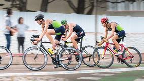 Frontrunners for a road bike race royalty free stock image