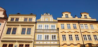 Fronts of Praga. Front of several buildings of the Street Mostecka of Prague, near Carlos' bridge Stock Photography