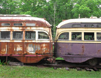 Fronts of two old streetcars Royalty Free Stock Photography