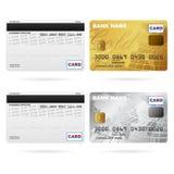 Frontseite und Rückseite der Kreditkarten lizenzfreie abbildung