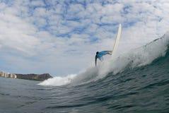 Frontside 360 de la persona que practica surf Imagen de archivo libre de regalías
