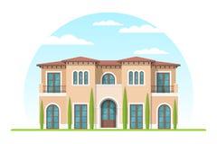 Frontview av det förorts- privata huset för medelhavs- stil vektor illustrationer