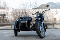 Frontview of black old  oldtimer motorcycle Royalty Free Stock Photography