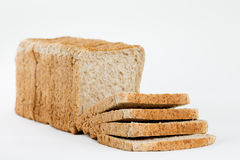 Frontview from a completely sliced bread for toasting, isolated Royalty Free Stock Image