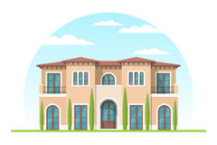 Frontview della casa privata suburbana di stile mediterraneo illustrazione vettoriale