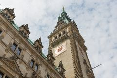 Frontview historic town hall in Hamburg, Germany Stock Photos