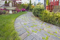 Frontyard Cement Stone Paver Path Stock Photo