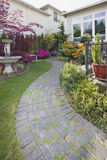 Frontyard Cement Stone Paver Path Vertical Royalty Free Stock Photo
