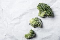 Fronzen Broccoli. Macro close up shop of frozen broccoli veggies Royalty Free Stock Photos