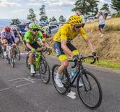 Froome в желтых Джерси - Тур-де-Франс 2017 Стоковые Изображения