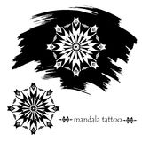 Froral mandala. Tattoo silhouette Royalty Free Stock Photos