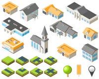 förorts- isometrisk sats för stadsgemenskap Royaltyfria Bilder