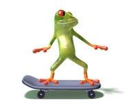 Frosch auf einem Skateboard Lizenzfreie Stockbilder