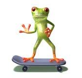 Frosch auf einem Skateboard Lizenzfreie Stockfotografie