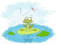 Frosch auf einer Lilie Lizenzfreies Stockfoto