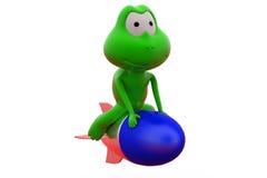 Frosch 3d auf großem roccket konzept lizenzfreies stockfoto