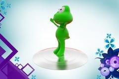 Frosch 3d auf Stadiumsillustration Lizenzfreie Stockfotos