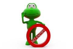 Frosch 3d kein Eintrittskonzept Lizenzfreies Stockbild