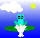 Frosch, der auf einer Lilie nahe der Lilie sitzt Stockbilder