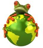 Frosch, der die Erde schützt Lizenzfreies Stockfoto