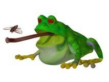 Frosch der Karikatur 3d, der eine Fliege fängt Stockbilder