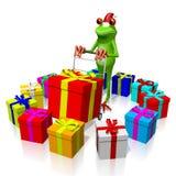 Frosch der Karikatur 3D - Weihnachtskarte Stockfoto