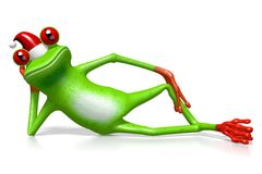 Frosch der Karikatur 3D - Weihnachtskarte Lizenzfreie Stockbilder