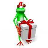 Frosch der Karikatur 3D - Weihnachtskarte Stockfotos