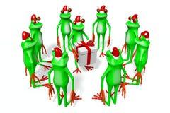 Frosch der Karikatur 3D - Weihnachtskarte Lizenzfreie Stockfotos
