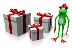 Frosch der Karikatur 3D - Weihnachtskarte Lizenzfreies Stockfoto