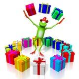 Frosch der Karikatur 3D - Weihnachtskarte Lizenzfreies Stockbild