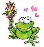 Frosch mit Blumenstrauß Stockfoto