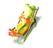 Frosch in einem Langstuhl Stockbilder