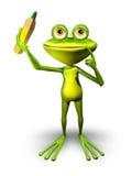 Frosch mit Bleistift Lizenzfreies Stockbild