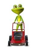 Frosch mit einem frontalen Mäher Lizenzfreies Stockfoto