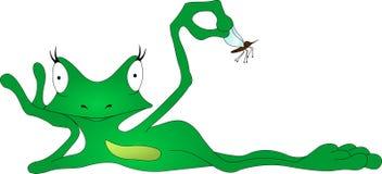 Frosch mit einem Moskito stock abbildung